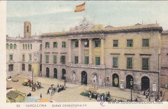 BARCELONA: CASAS CONSISTORIALES: TARJETA POSTAL Nº 33 DE SAMSOT Y MISSÈ, SIN USAR. (Postales - España - Cataluña Antigua (hasta 1939))