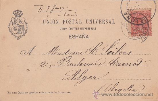 ALFONSO XIII PELON (10 CTS) TARJETA POSTAL CIRCULADA 1900 A ARGELIA: CORRIDA DE TOROS: EL ARRASTRE (Postales - España - Cataluña Antigua (hasta 1939))