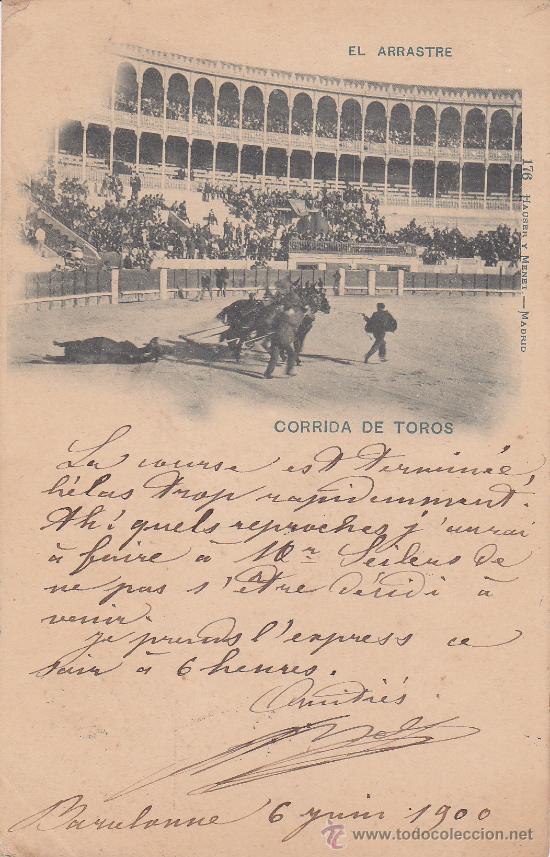 Postales: ALFONSO XIII PELON (10 CTS) TARJETA POSTAL CIRCULADA 1900 A ARGELIA: CORRIDA DE TOROS: EL ARRASTRE - Foto 2 - 23741711