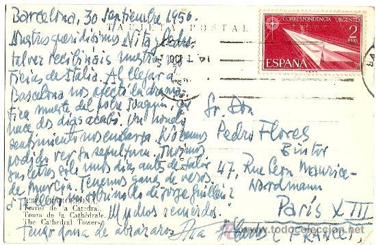 Postales: BARCELONA - TORRES DE LA CATEDRAL - SOBERANAS - CIRCULADA 1956 - Foto 2 - 16598510
