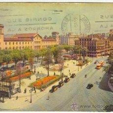 Postales: BARCELONA, PLAZA UNIVERSIDAD COLOREADA, FOTOCOLOR J.FERRANDIZ Nº 15 CIRCULADA 1959 CON SELLO FRANCO. Lote 16620968