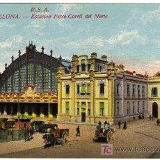 Postales: PRECIOSA POSTAL - BARCELONA - R.S.A. ESTACION FERRO-CARRIL DEL NORTE . Lote 16677943