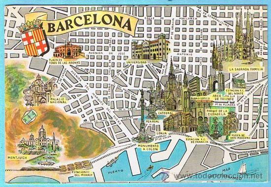 Postal Plano Monumental Y Otros De Barcelona F Sold Through