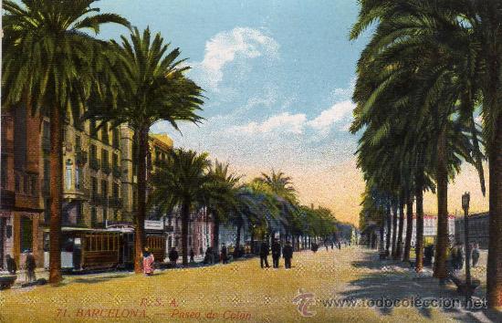 BARCELONA,PASEO DE COLON.POSTAL NO CIRCULADA (Postales - España - Cataluña Antigua (hasta 1939))