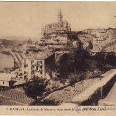 Postales: MANRESA - 2 LA CIUDAD DE MANRESA, VISTA DESDE LA CASA DE LA SANTA CUEVA. Lote 26849372