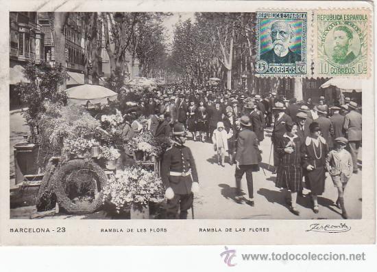RAMBLA DE LES FLORS: REPUBLICA ESPAÑOLA: TARJETA POSTAL CIRCULADA A BULGARIA EN 1933. LLEGADA. RARA (Postales - España - Cataluña Antigua (hasta 1939))