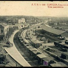 Postales: TORTOSA (TARRAGONA) : A.T.V. Nº 591 - ESTACION DEL FERRO-CARRIL, VISTA PANORAMICA. Lote 24046775