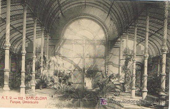 POSTAL BARCELONA, PARQUE, UMBRÁCULO, A.T.V. - 102 (Postales - España - Cataluña Antigua (hasta 1939))