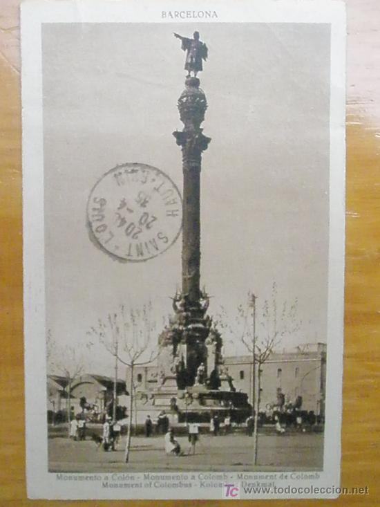 POSTAL ANTIGUA BARCELONA CIRCULADA.MONUMENTO A COLON.VER FOTO ADICIONAL (Postales - España - Cataluña Antigua (hasta 1939))