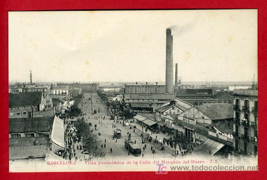 BARCELONA, VISTA PANORAMICA DE LA CALLE DEL MARQUES DEL DUERO, P41022 (Postales - España - Cataluña Antigua (hasta 1939))