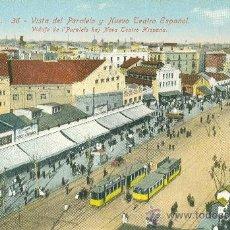 Postales: BARCELONA. VISTA DEL PARALELO Y NUEVO TEATRO ESPAÑOL. TRANVIAS.. Lote 20126635