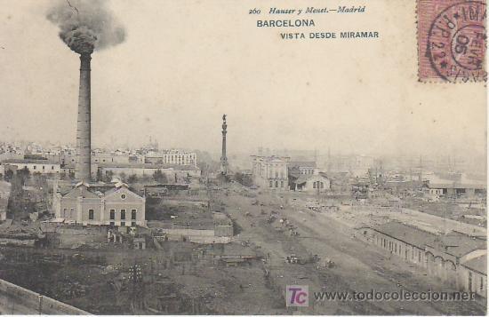 HAUSER & MENET.BARCELONA.VISTA DESDE MIRAMAR.SIN DIVIDIR. VEA MAS POSTALES EN RASTRILLOPORTOBELLO (Postales - España - Cataluña Antigua (hasta 1939))