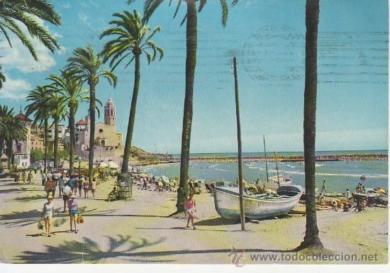 SITGES. LUMINOSO PASEO DE LA RIBERA. MAS COLECCIONSIMO Y POSTALES EN RASTRILLOPORTOBELLO (Postales - España - Cataluña Moderna (desde 1940))