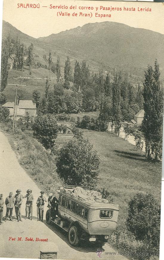 VALLE DE ARAN. SALARDU. AUTOBÚS DEL CORREO Y GUARDIAS CIVILES. HACIA 1910. (Postales - España - Cataluña Antigua (hasta 1939))