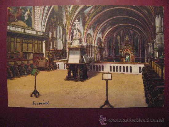 MONSERRAT,CORO DE LA BASILICA.CIRCULADA EN 1924.VER FOTO ADICIONAL. (Postales - España - Cataluña Antigua (hasta 1939))