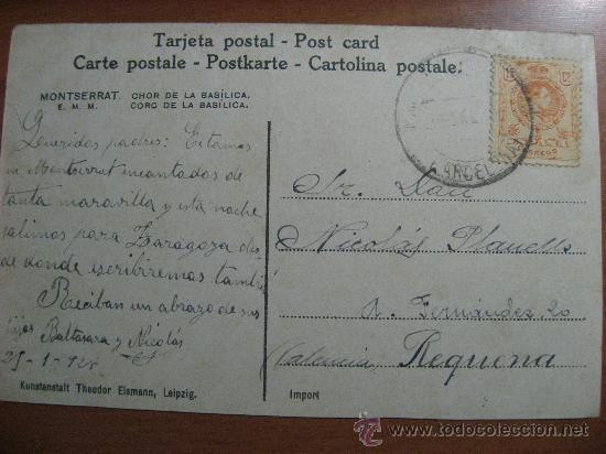 Postales: MONSERRAT,CORO DE LA BASILICA.CIRCULADA EN 1924.VER FOTO ADICIONAL. - Foto 2 - 23250651