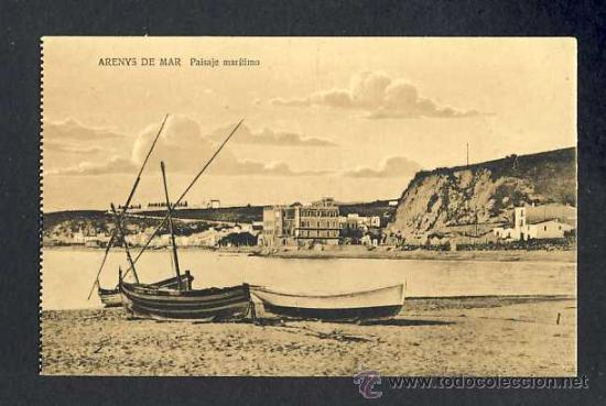 POSTAL D' ARENYS DE MAR (BARCELONA): PAISATGE MARÍTIM (FOTO GRUNER) (Postales - España - Cataluña Antigua (hasta 1939))