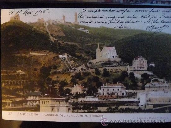BARCELONA - PANORAMICA DEL FUNICULAR AL TIBIDABO -- AÑO 1906 (Postales - España - Cataluña Antigua (hasta 1939))