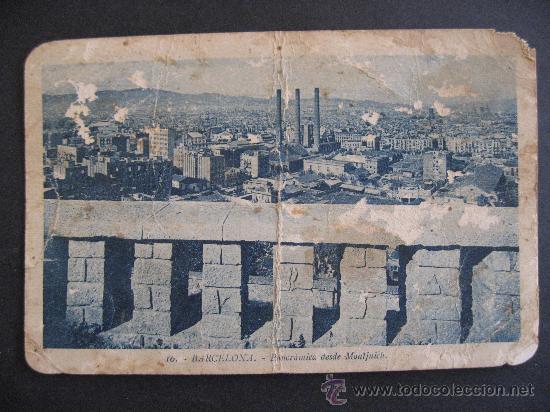 BARCELONA,PANORAMICA DESDE MONTJUICH.VER FOTO ADICIONAL. (Postales - España - Cataluña Antigua (hasta 1939))