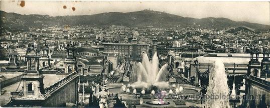 6290B - MONTJUICH (BARCELONA) TARJETA SUPERPANORÁMICA - TALLERES ZERKOWITZ (Postales - España - Cataluña Antigua (hasta 1939))
