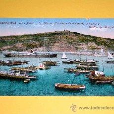 Postales: POSTAL BARCELONA, PUERTO. LOS VIVEROS (CRIADEROS DE MOLUSCOS) MONTAÑA Y CASTILLO. SIN CIRCULAR.. Lote 25005199