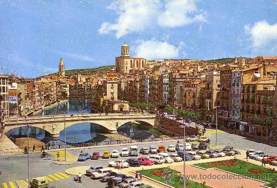 ESPAÑA. T. P. GERONA. Nº 46. RÍO OÑAR Y CATEDRAL AL FONDO. CIRCULADA AÑOS 60. MAGNÍFICA. (Postales - España - Cataluña Moderna (desde 1940))