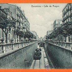 Postales: CALLE DE ARAGON - BARCELONA - SIN CIRCULAR - MUY RARA MAQUINA DE TREN SIN VAGON FRONTAL - SIN EDITOR. Lote 26455285