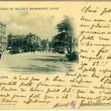 Postales: POSTAL BARCELONA PASEO DE COLON Y MONUMENTO LOPEZ SELLO PELON. Lote 27005513