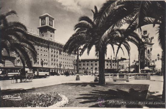 BARCELONA. ZERKOWITZ 515 PLAZA DE ESPAÑA. NO CIRCULADA.BUS, COCHE CABALLOS (Postales - España - Cataluña Antigua (hasta 1939))