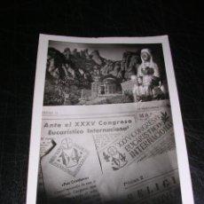 Postales: MONTSERRAT,MAIG 1952 - XXXV CONGRESO EUCARISTICO INTERNACIONAL 14X9 CM.. Lote 27946007