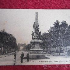 Postales: BARCELONA - MONUMENTO DE RIUS Y TAULET Y SALON DE SAN JUAN. Lote 28600157