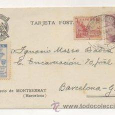 Postales: MONTSERRAT. TARJETA POSTAL DEL MONASTERIO DE MONTSERRAT. + VIÑETA CONGRESO MARIANAS. . Lote 29289421