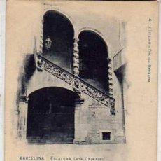 Postales: BARCELONA. ESCALERA CASA DALMASES. 4 FOTOGRAFIA PRACTICA REVERSO SIN DIVIDIR. CIRCULADA.. Lote 29390330
