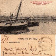 Postales: 92 BARCELONA, MUELLE DE ESPAÑA DESDE EL MUELLE DE PESCADORES, L. ROISIN, . Lote 29623568