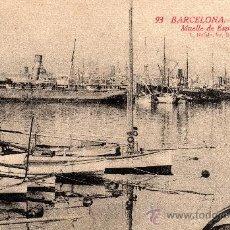Postales: 93 BARCELONA, PUERTO, MUELLE DE ESPAÑA, L.ROISIN, 1921. Lote 29623589