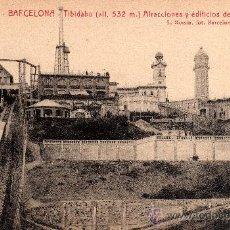 Postales: 23 BARCELONA - TIBIDABO, ATRACCIONES Y EDIFICIOS DE LA CÚSPIDE, L.ROISIN, S/C. Lote 29623834