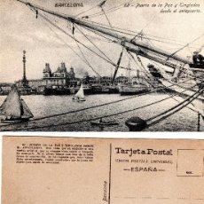 Postales: BARCELONA, 62 PUERTA DE LA PAZ Y TINGLADOS DESDE EL ANTEPUERTO, ED. JORGE VENINI -BARCELONA-, S/C. Lote 29623887