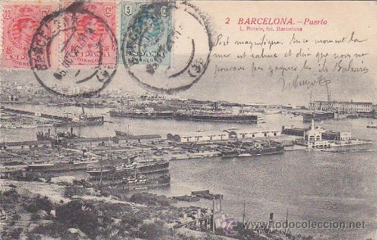 PUERTO DE BARCELONA EN 1921: BONITA TARJETA POSTAL NUM. 2 L. ROISIN CIRCULADA A FRANCIA. (Postales - España - Cataluña Antigua (hasta 1939))
