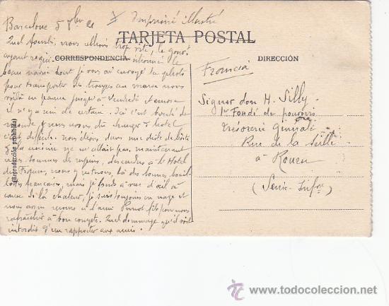 Postales: PUERTO DE BARCELONA EN 1921: BONITA TARJETA POSTAL NUM. 2 L. ROISIN CIRCULADA A FRANCIA. - Foto 2 - 29956609