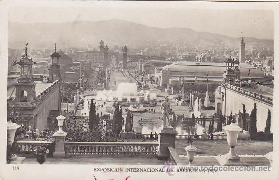 MATASELLOS ESPECIAL EXPOSICION INTERNACIONAL 1929 BARCELONA EN BONITA POSTAL CIRCULADA A MADRID RARA (Postales - España - Cataluña Antigua (hasta 1939))