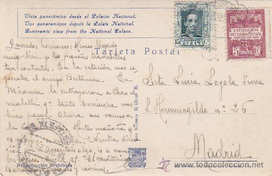 Postales: MATASELLOS ESPECIAL EXPOSICION INTERNACIONAL 1929 BARCELONA EN BONITA POSTAL CIRCULADA A MADRID RARA - Foto 2 - 29956628