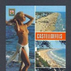 Postales: POSTAL DE CASTELLDEFELS: 4 VISTES. NU, DESNUDO, EROTICA (ESCUDO DE ORO NUM.49). Lote 218458781
