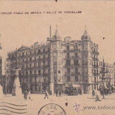 Postales: BARCELONA: CRUCE PASEO DE GRACIA Y CALLE DE ARGÜELLES. BONITA POSTAL CIRCULADA SELLO ITALIANO. RARA.. Lote 30043875