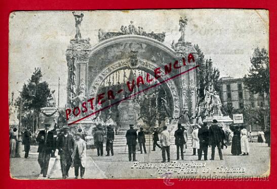 POSTAL, BARCELONA, FIESTAS, ARCO, PLAZA DE CATALUÑA, P67360 (Postales - España - Cataluña Antigua (hasta 1939))