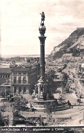 TARJETA POSTAL. BARCELONA. Nº 74. MONUMENTO A COLON. ED. ZERKOWITZ. (Postales - España - Cataluña Antigua (hasta 1939))