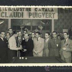 Postales: FOTO-POSTAL DE SABADELL: REPARTIMENT DE TROFEUS EN UN CONCURS-EXHIBICIÓ DE BILLAR (FOTO LLOBET). Lote 30775804