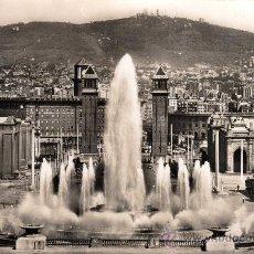 Postales: BARCELONA, PARQUE DE MONTJUICH, SURTIDOR GIGANTE, ZERKOWITZ, AÑOS 60. Lote 30900009
