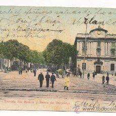 Postales: BARCELONA.- RAMBLA SANTA MÓNICA Y BANCO DE BARCELONA.- (C.1905).. Lote 31164440