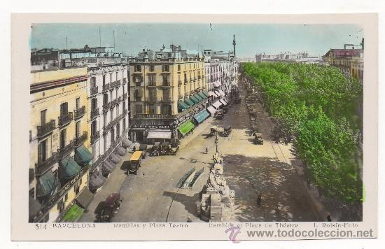 BARCELONA.- RAMBLAS Y PLAZA TEATRO.- RAMBLES ET PLACE DU THÉATRE. (Postales - España - Cataluña Antigua (hasta 1939))