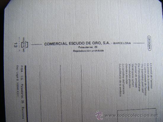 Postales: POSTAL LA POSTAL DE LA AMISTAL COMERCIAL ESCUDO DE ORO, Nº 13. CUADRADA. - Foto 3 - 31992458